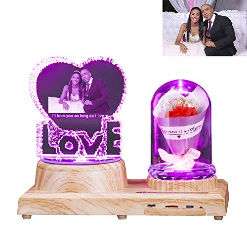 Amor Foto Cristal Lámpara Bluetooth Nombre Grabado Música Luz De Noche Decoración De Cumpleaños Aniversario Día De San Valentín Ideas Para El Día De La Madre(Amor - Rosa Roja)