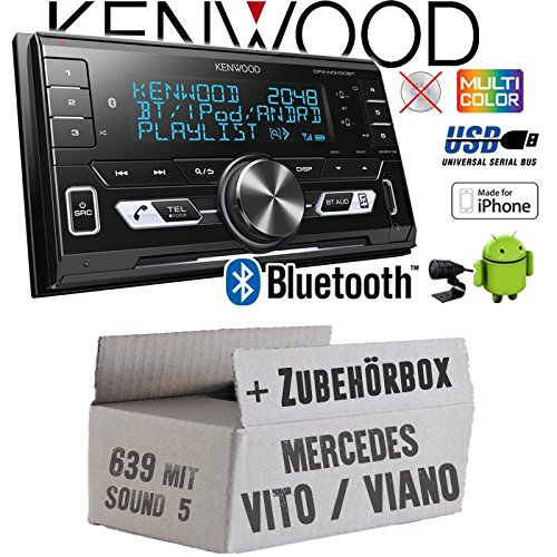 Autoradio Radio Kenwood DPX-M3100BT - 2-DIN Bluetooth USB VarioColor Einbauzubehör - Einbauset für Mercedes Vito/Viano 639 - JUST SOUND best choice for caraudio