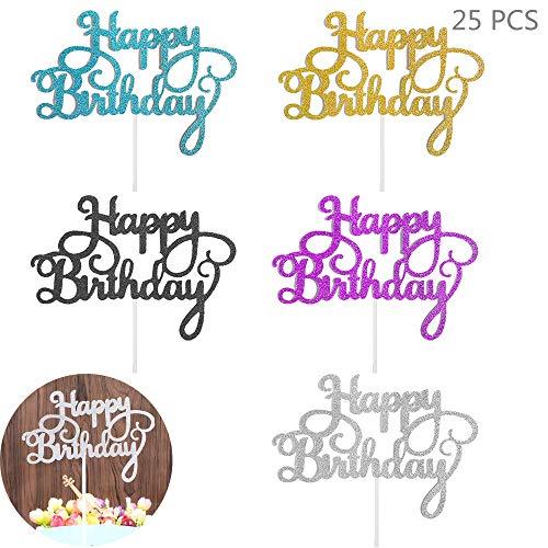 Juland 25 Stück Geburtstagstorte Topper Torten Papier Geburtstag Kuchen Aufsatz Topper Gold Tortenstecker Alles Gute zum Geburtstag Cupcake Glitter Deko für Motto Party Torte Dekoration- 5 Farben