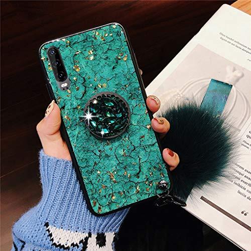 Karomenic Silikon Hülle kompatibel mit Huawei P30 Bling Glänzend Glitzer Strass Schutzhülle Weiche TPU Handyhülle mit Diamant Ring Ständer Haarball Stoßfest Tasche Bumper Case,Grün