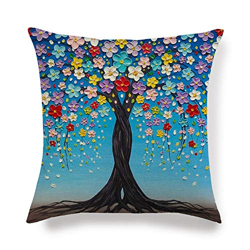 Vioness - Funda de cojín con diseño de árbol de la vida, flor pétalos coloreados, ramas de vista 3D, pintura de lino, algodón, funda de almohada decorativa, sofá, cama, oficina, 45 x 45 cm #1