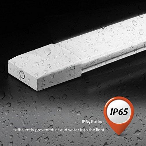 LED Feuchtraumleuchte Deckenleuchte Pendelleuchte Badlampe, wasserdicht für Innen und Außenbereich, 18W, 60CM, IP64, 4000K