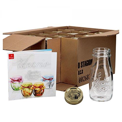MamboCat 12er Set Quattro Stagioni Flasche 0,40l incl. Bormioli Rezeptheft - als Saft Smoothie Getränke Fläschchen, zur Dekoration oder als Einmachglas, Vorratsglas