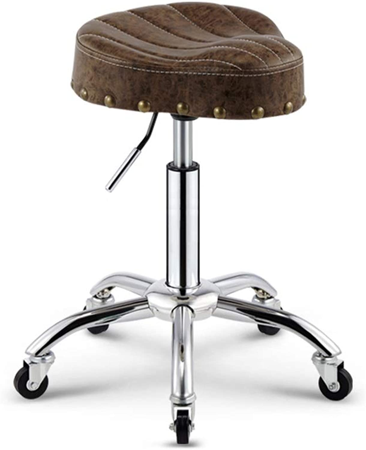 SCHUNlian Barbershop Low Stool, Pu Can Lift Creative redating Stool Metal with Pulley Dining Chair Dressing Stool, 45-58CM Durable and Strong (color    2)