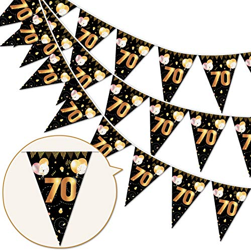 HOWAF 70th Birthday Party Decorations Banner,Black Gold Party Accessory for 70th Birthday Anniversary Party Decoration Supplies