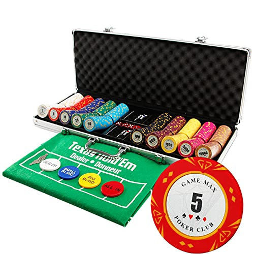 YZJJ Juego de fichas de póquer Texas Hold 'em Clay, Juego de fichas de póker de 500 Piezas con Juego de Cartas, Dados,Caja de Aluminio portátil
