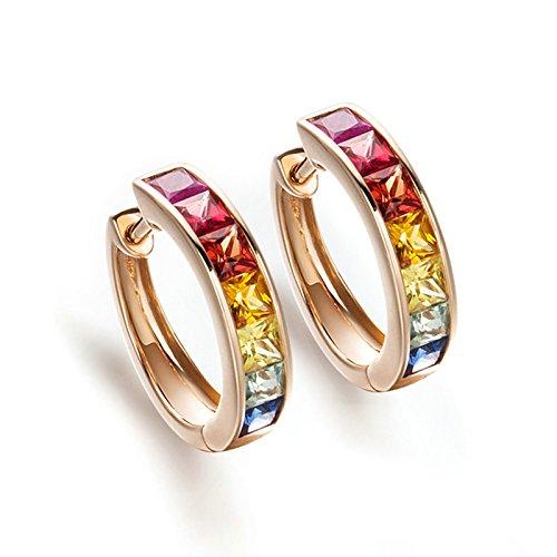 DOLOVE 18K Rose Gold Stud Earrings for Women Aquamarine 1.568ct Rainbow Diamond Earrings Hoops