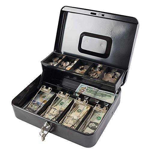 KYODOLED Locking Cash Box with Lock,Money Box with Cash Tray,Lock Safe Box with Key,Money Saving Organizer,11.81Lx 9.45Wx 3.54H Inches,Black XL Large