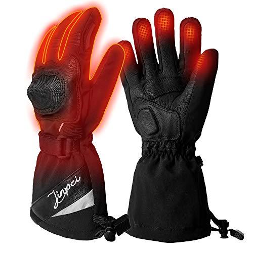 Beheizte Handschuhe Motorrad Herren und Damen mit 3 Stufen Temperaturregler, Beheizbare Handschuhe Schwarz mit 7.4V 2200 mAh Akku für Radfahren, Motorrad, Winterski und Eislaufen Größe 2XL