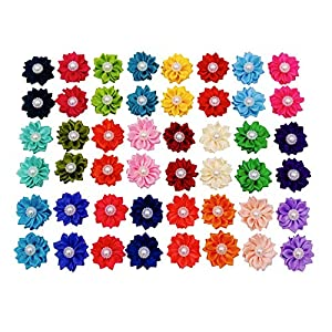 JpGdn 50pcs/(25pairs) Dog Hair Bows with Rubber Band and Fake Pearls Dog Hair Bow Ties in 25Colors Dog Hair Flower for Puppy Doggy Medium Animals Grooming Accessories Attachment