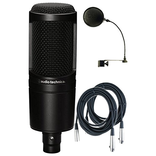 Audio-Technica AT2020 Cardioid Condenser Studio Microphone w/Pop Filter and (2) 20' Mic Cables