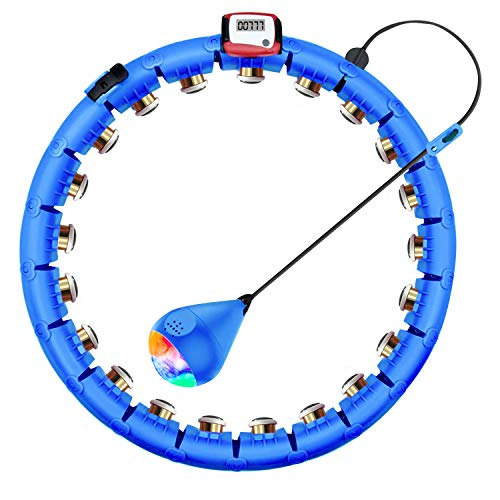 KUWAN Smart Fitness Reifen Erwachsene 24 bewegliche und verstellbare mit 360-Grad-Massage und intelligenten Aufnahmedaten Nicht herunterfällt Blau