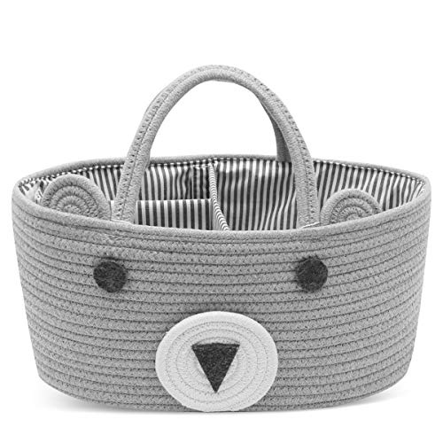 Conthfut Baby Diaper Caddy Organizer 100% Cotton Canvas Stylish Rope Nursery Storage Bin Portable Tote Bag & Car Organizer For Changing Table- Top Baby Shower Basket