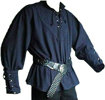 Camisa Vintage de Hombre Camisa Medieval Ropa con Collar de Pie Manga Larga
