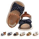 EAU LAYAMEN Baby Girl Sandals Summer Crib Shoes Bowknot Soft Sole Infant Girls Princess Dress Flats First Walker Shoes B-dot Blue Toddler:12-18 M,13cm