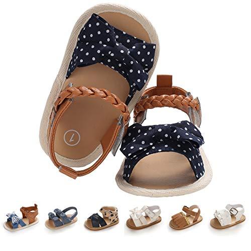 EAU LAYAMEN Baby Girl Sandals Summer Crib Shoes Bowknot Soft Sole Infant Girls Princess Dress Flats First Walker Shoes B-dot Blue, 6-12 month