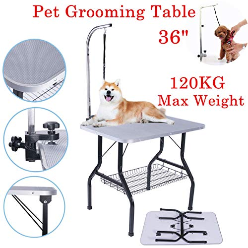 Generic * OG Cat Gr Arm Ajustable Cat Groomin Grooming Mesa Mascota Perro Perro Gato Estable sin Nariz Plegable se Plegable Antideslizante Nariz Plegable