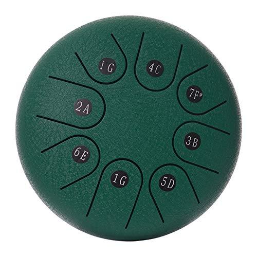 FITYLE Tambor de lengua de acero 6 pulgadas 8 notas C-llave tambor de mano con bolsa, par de mazos paño de limpieza para educación Musical concierto Yoga