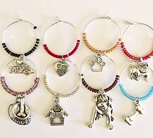 Animal Lovers Doggie Wine Glass Charms, OOAK Dog Rescue Barware, Stocking Stuffers, Bunco Prizes, Party Favors, Man's Best Friend Charms, Set of 8