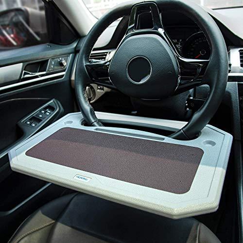 TICARVE Mesa de escritorio multifuncional para volante, portátil, mesa para el coche, mesa de comedor con soporte para bebidas para adaptarse a la mayoría de volantes de vehículos.