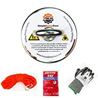 """Magnet Fishing Kit 400 Pound Pull with Rope + Carabiner + Loctite + Level 3 Cut Resistant PU Coated Gloves + E Book Recover Items from Lakes Rivers and Ponds (2.36"""", 60mm)"""