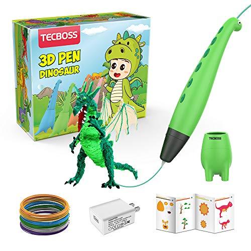 Tecboss Lápiz 3D, Pluma 3D Dinosaurio,3D Pen, Juguete con Modo de Ssueño Seguro de 2 Velocidades,Ideal Regalo para Niños y Niñas de 6/7/8/9/10 Años de Navidad,Cumpleaños(Color Verde)
