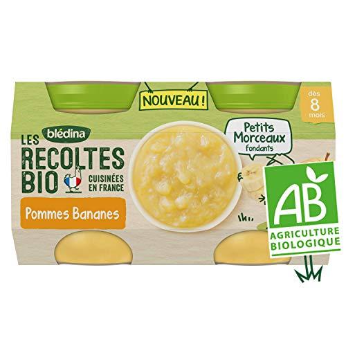 BLEDINA LES RECOLTES BIO Petits pots pour bébé dès 8 mois Pommes Bananes Petits Morceaux 2x130g