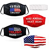 4 PACK ADULT FACE MASK WITH FILTERS INCLUDED - TRUMP COLLECTION! Trump 2020, Jesus Is My Saviour, Make America Great Again (MAGA), USA Flag - 4 x fun designs in one pack Washable & reusable with REPLACEABLE FILTERS INCLUDED for extra protection Soft,...