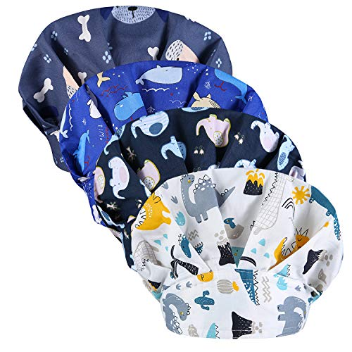 Marstomoon 4Pcs Adjustable Working Cap with Buttons Elastic Bouffant Hats Head Scarf with Sweatband for Women Men (Color1)