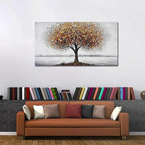 ZXJYH muurdecoratie met de hand beschilderd modern abstract olieverfschilderij canvas kleurrijke boom moderne pop-up dierenstijl mooie huis muur woonkamer kunst kunstwerk kleurrijke kinderkamer, koffiekwinkel 60×120cm(24×48 inch)