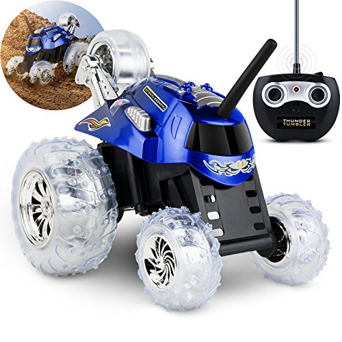 SHARPER IMAGE Thunder Tumbler Spinning Stunt Mini Truck RC Car with 5th Wheel, Blue