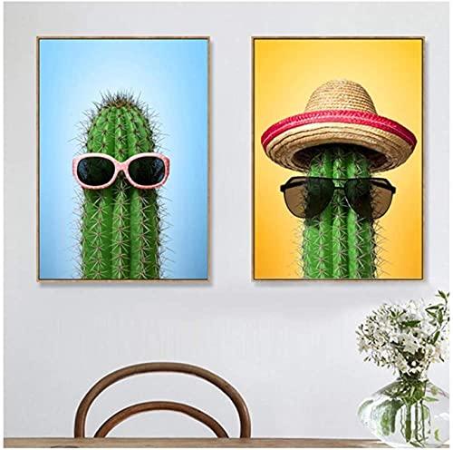 Impresión en Lienzo Gafas de Sol Cactus Tropicales Carteles e Impresiones Arte de la Pared Pintura en Lienzo Pared Sala de Estar Dormitorio Decoración para el hogar 2 Piezas 20x30cm sin Marco