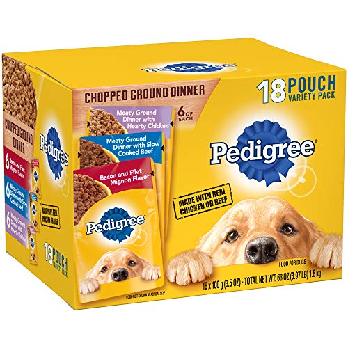 Pedigree Chopped Ground Dinner Adult Wet Dog Food Variety Pack, (18) 3.5 Oz. Pouches