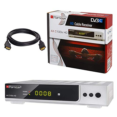 Kabel Receiver DVB-C Set: HB DIGITAL Opticum AX C100 HD PVR DVB-C Receiver für Kabelfernsehen mit Aufnahmefunktion; Farbe: Silber + HDMI Kabel (HDTV, HDMI, SCART, USB 2.0, SPDIF Koaxial Ausgang)