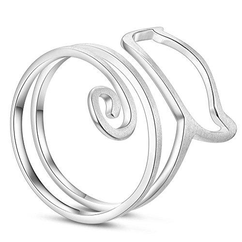 Sweetiee, anello femminile regolabile e a spirale, a forma di gatto, in argento sterling 925, dimensione 17mm, oro rosa, Argento, 57 (18.1), colore: platinum, cod. JR389A