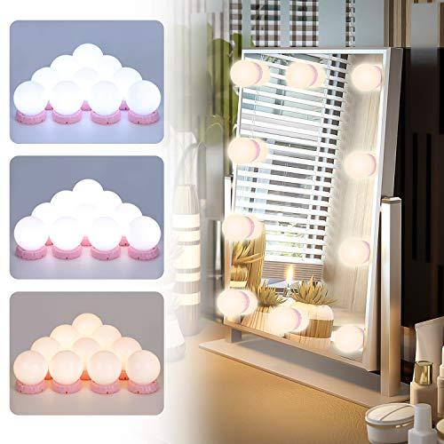 Led Spiegelleuchte POVO Hollywood Stil 10 Dimmbar LED Schminklicht mit 10 Dimmbarer Helligkeit und 3 Einstellbarem Farbmodus für Kosmetikspiegel Schminktisch Badzimmer Spiegel (Rosa)