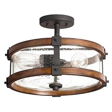 Kichler 14-inch W Distressed Black and Wood Clear Glass Semi Flush Mount Light
