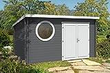 CARLSSON Modernes Holz Gartenhaus Maria-Rondo mit Boden | Geräteschuppen mit Isolierglas-Verglasung (400 x 300cm)