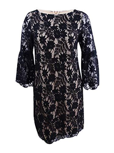Jessica Howard Damen Lace Shift Dress with Bell Sleeves Freizeitkleidung, Schwarz/Braun, 44