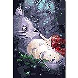 Taladro redondo completo 5D pintura de diamante película de dibujos animados mi vecino Totoro decoración del hogar mosaico de diamantes Kit de punto de cruz regalo(19.7x27.6inch)