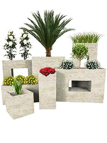 Pflanzwerk Jardinera Fibra de Vidrio Cube Antiguo Arena 23x23x23cm *Maceta a Prueba de heladas* *Protección UV* *Calidad Europeo*