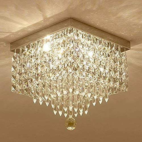 "Moooni Hallway Crystal Chandelier Modern Square Raindrop Flush Mount Ceiling Light Fixture for Closet Foyer W12"""