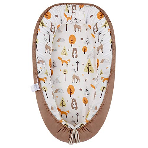 Baby Lounger Baby Nest, Portable Newborn Co Sleeper for Baby, 100% Cotton Soft Breathable Baby Nest Sleeper, Adjustable for Baby Bassinet and Crib, Great for Newborn Shower Gift (Fox)