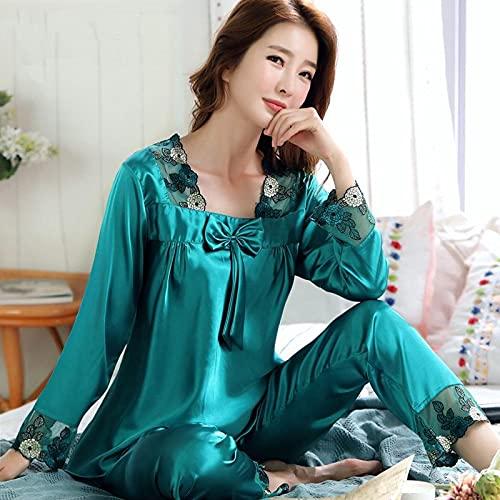 STJDM Bata de Noche,Conjunto de Pijama de satén de Seda para Mujer, Ropa de Dormir de Encaje de Flores Sexi para Mujer, Pijama, Traje de Pijama, lencería M Verde