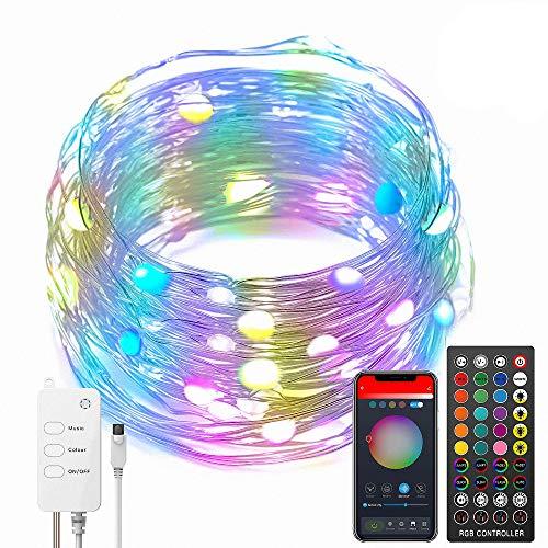 LED Lichterketten 5m Musiksynchronisation Farbwechsel, RGB-LED-Kette, 40-Tasten-Fernbedienung, eingebautes...