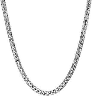 Collar de plata de ley de 2,5 mm a 5 mm, cadena de eslabones cuadrados, collar de rodio, collar de plata de ley 18-30