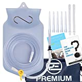14PC Enema Bag Kit Clear Non-Toxic Silicone. For Coffee and Water Colon Cleansing. 2 Litre Capacity, 6.75 Foot...