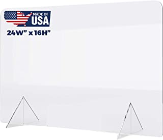 """No Cutout 24""""W x 16""""H Sneeze Guard for Counter and Desk, Freestanding Clear Acrylic Shield, plexiglass Shield"""