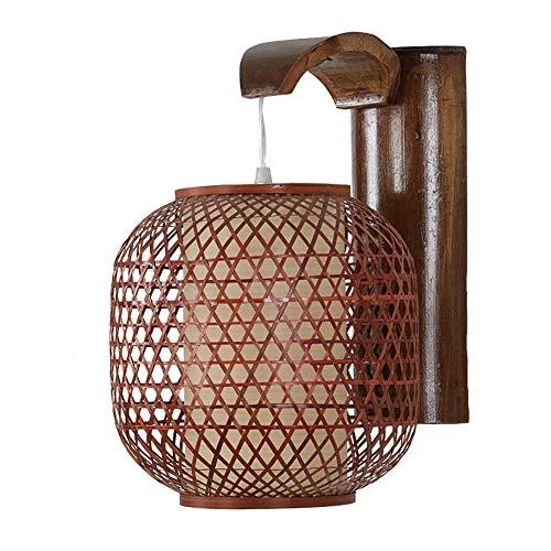 CSD Que conduce a la doble lámpara de pared, hecho a mano de bambú tejido de la lámpara, creativo dormitorio, sala de estar, pasillo, lámpara de bambú