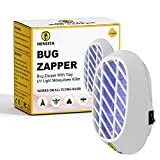 HENSITA Electronic Insect Zapper Indoor Mosquitoes Killer Bug Moth Fruit Fly Killer Powerful Insect Trap with UV Light Eco-Friendly Chemical-Free 2 PCS Plug-in Electric Insect For Home (White)